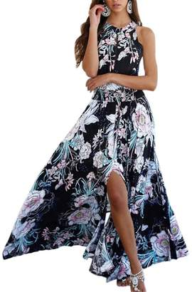 Bnadi Women Off Shoulder Floral Summer Beach Dress Out Halter Boho Style Dresses -L