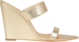 Schutz Soraya Gold Leather Wedge Sandals