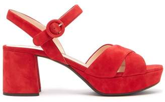Prada Suede Platform Sandals - Womens - Red