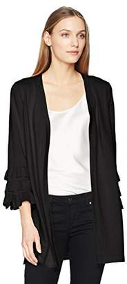 Calvin Klein Women's Long Cardigan with 3 Tier Ruffle