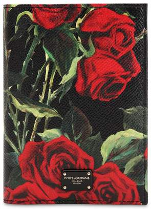 Dolce & Gabbana Floral Printed Leather Passport Holder