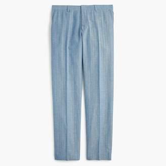 J.Crew Ludlow Slim-fit unstructured suit pant in blue herringbone cotton-linen