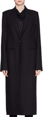 The Row Encer One-Button Wool-Blend Calf-Length Coat
