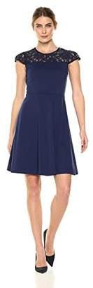Lark & Ro Women's Lace Yoke Cap Sleeve Knee-Length Dress
