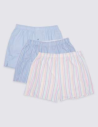Marks and Spencer 3 Pack Pure Cotton Striped Boxers