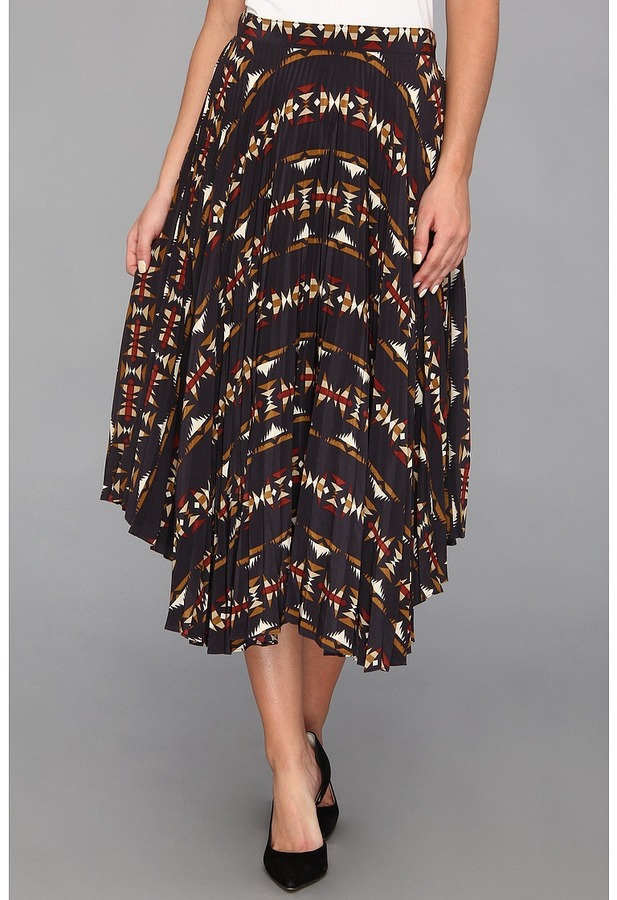 Pendleton The Portland Collection by Olene Pleated Silk Skirt (Multi Sonora) - Apparel