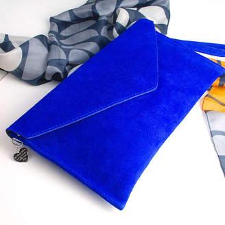 Penelopetom Personalised Suede Envelope Clutch Bag