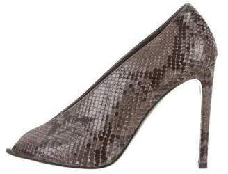 Balenciaga Snakeskin Peep-Toe Pumps