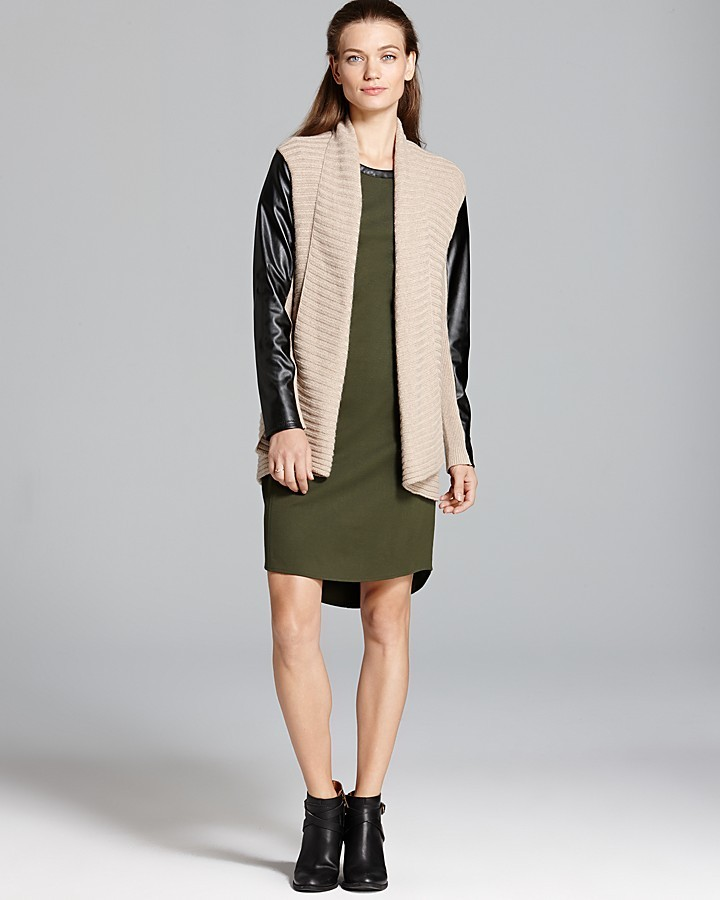 DKNY DKNYC Cozy Cardigan with Faux Leather Sleeves