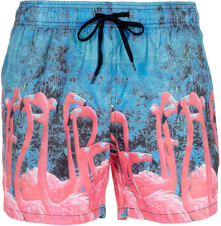 Topman Flamingo Printed Swim Shorts