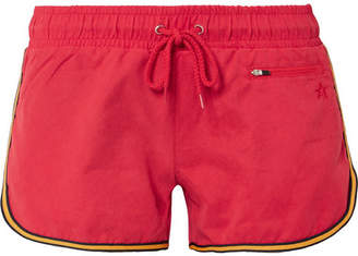 Perfect Moment - Striped Washed-twill Shorts - Red
