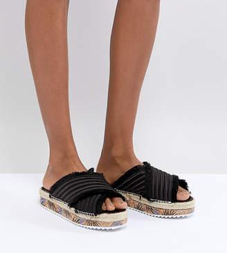 Sixty Seven SixtySeven Adiva Black Satin Flatform Sandals