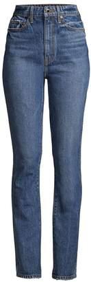 KHAITE Daria High-Rise Distressed Slim-Leg Jeans