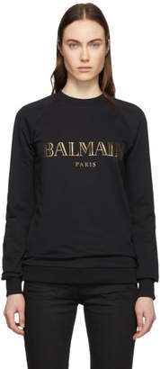 Balmain Black and Gold Logo Sweatshirt