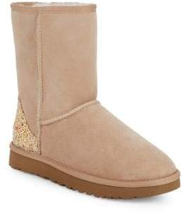 UGG Classic Short Glitter Shearling & UGGpure-Lined Suede Boots