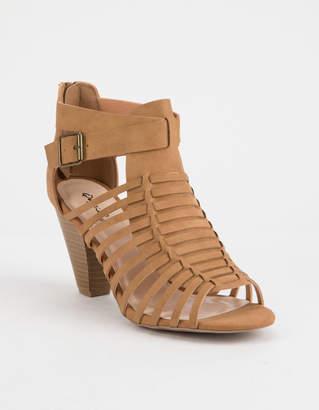 Qupid Chamber Tan Womens Heeled Sandals