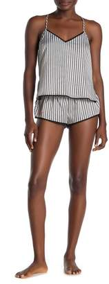 Jonquil In Bloom by Striped Lace Trim Satin Camisole & Shorts Pajama 2-Piece Set