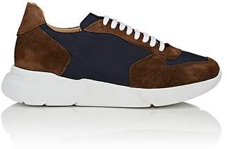 Barneys New York MEN'S CHUNKY-SOLE NYLON & BROWN SNEAKERS