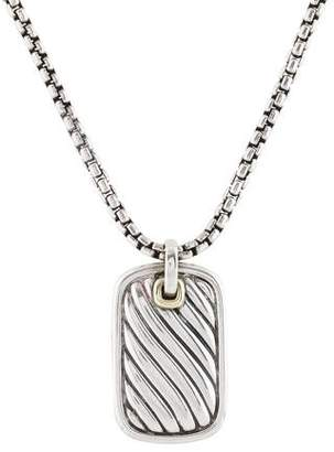 David Yurman Two-Tone Dog Tag Pendant Necklace