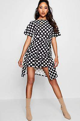 boohoo NEW Womens Tie Front Polka Dot Dress in Polyester