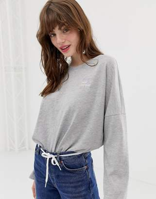 Monki oversized crew neck sweatshirt with embroidery in gray