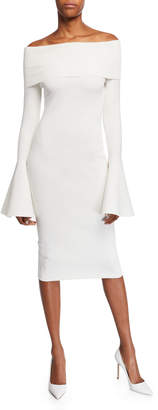 SOLACE London Mori Off-the-Shoulder Long Bell-Sleeve Body-Con Dress