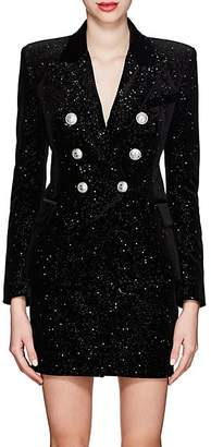 Balmain Women's Velvet Double-Breasted Blazer - Black