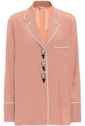 N°21 Embellished silk-blend shirt