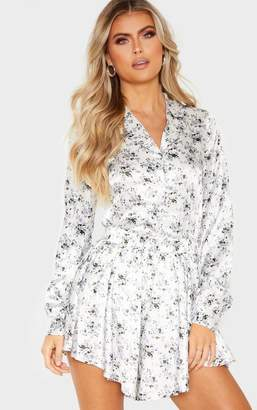 PrettyLittleThing Tall White Floral Button Detail Fitted Shirt