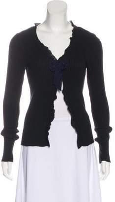 Miu Miu Crochet-Trimmed Lightweight Cardigan