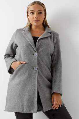 Next Womens Boohoo Plus Button Wool Look Coat
