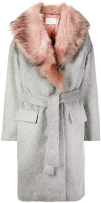 L'Autre Chose faux fur trim coat