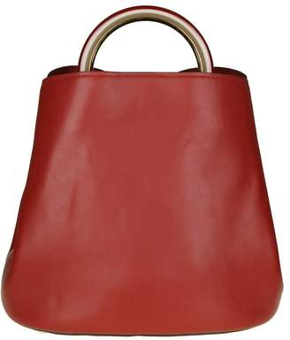 Marni Pannier Bag In Leather Color Bordeaux With Resin Handle