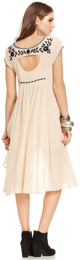 Free People Dress, Short-Sleeve Scoop-Neck Floral-Embroidered A-Line