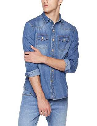 Trimthread Men's Casual Long Sleeve 2-Pocket Straight Fit Distressed Denim Work Shirt (