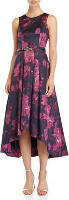 Eliza J Jacquard Floral Hi-low Ballgown
