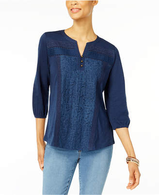 Style & Co Mixed-Lace Peasant Blouse, Created for Macy's $44.50 thestylecure.com