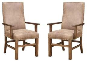 Emerald Home Chambers Creek Brown Upholstered Dining Arm Chair with Arms And Nailhead Trim, Set of Two