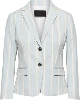 Banana Republic Petite Fitted Crop Stretch Linen-Cotton Stripe Blazer