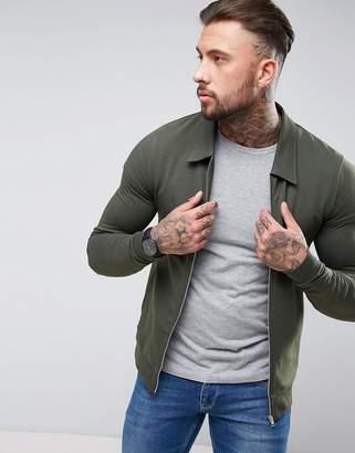 Asos Muscle Fit Jersey Harrington Jacket In Khaki