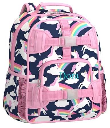 Pre-K Backpack, Mackenzie Navy Rainbow Unicorn