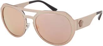 Versace VE2175 Rose Gold-Tone Flat Top Round Sunglasses