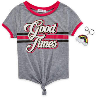1ce40888d41e9 Beautees Crew Neck Short Sleeve Graphic T-Shirt-Big Kid Girls