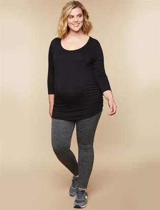 Motherhood Maternity Plus Size Heathered Over The Belly Fleece Maternity Leggings