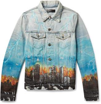 Amiri Distressed Printed Denim Trucker Jacket - Men - Blue