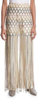 Rosetta Getty Metallic-Yarn Fringe Mesh Skirt
