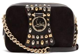 Christian Louboutin Rubylou Embellished Leather Mini Cross Body Bag - Womens - Grey Multi