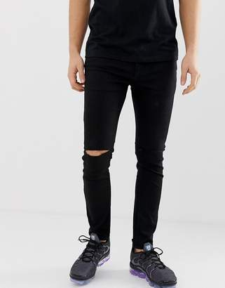 Pull&Bear super skinny jeans in black with knee rips