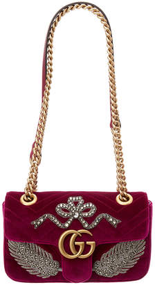 Gucci Gg Marmont Mini Embroidered Velvet Bag