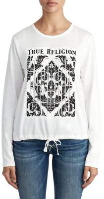 True Religion WOMENS GRAPHIC STRIP DRAWSTRING TOP